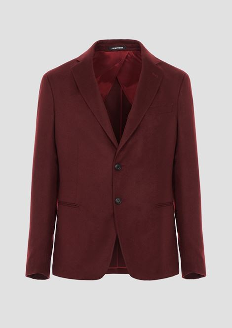 Ultralight pure cashmere single-breasted blazer with slits on the back