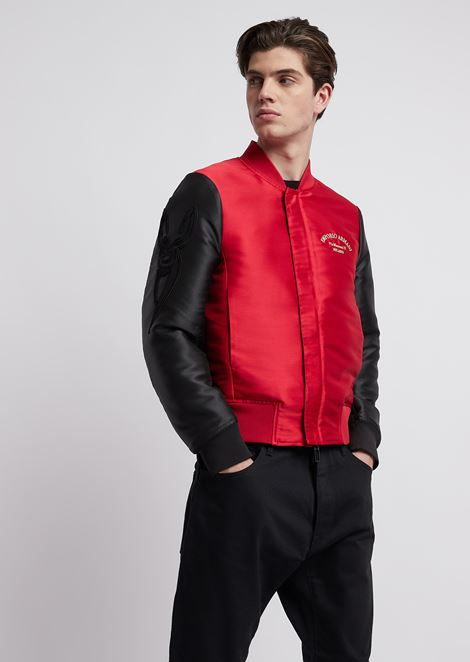Reversible bomber jacket in tech fabric with  logo embroidery
