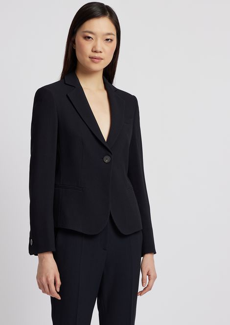 Single-breasted blazer in micro woven fabric d20df60c6332a