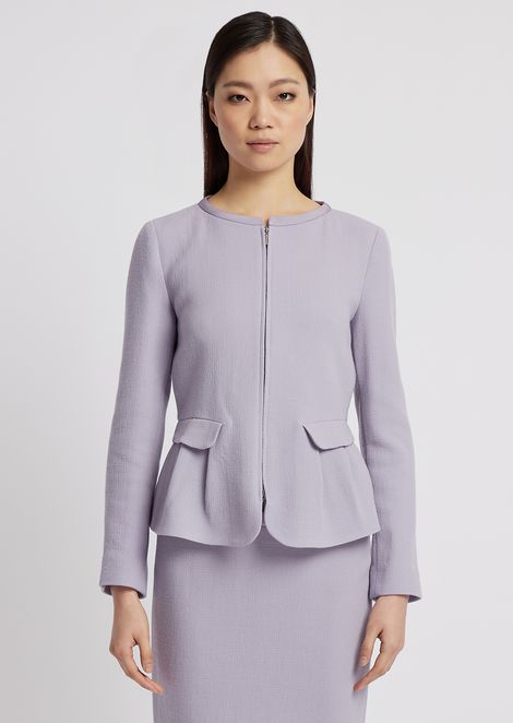 Flared double crepe jacket with zip and peplum