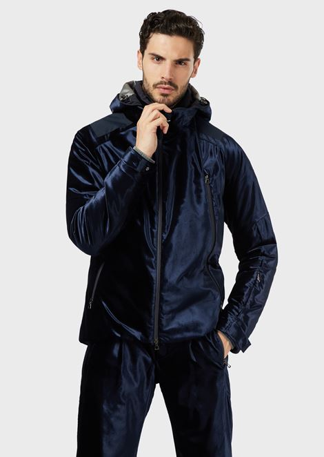 Technical padded ski jacket with outer shell in water repellent velvet