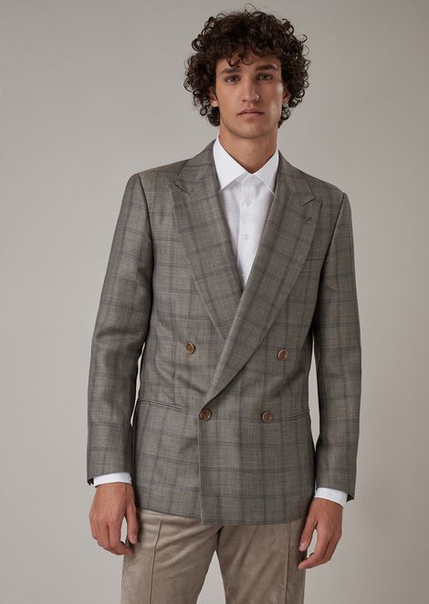Regular-fit double-breasted jacket in checkered serge
