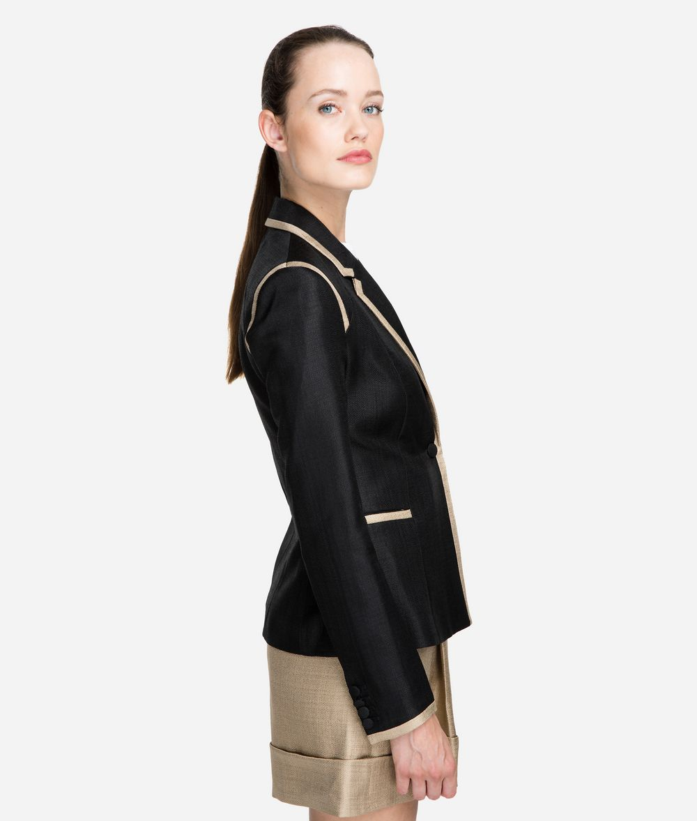 KARL LAGERFELD Tailored Gold-Trim Blazer Blazer Woman d