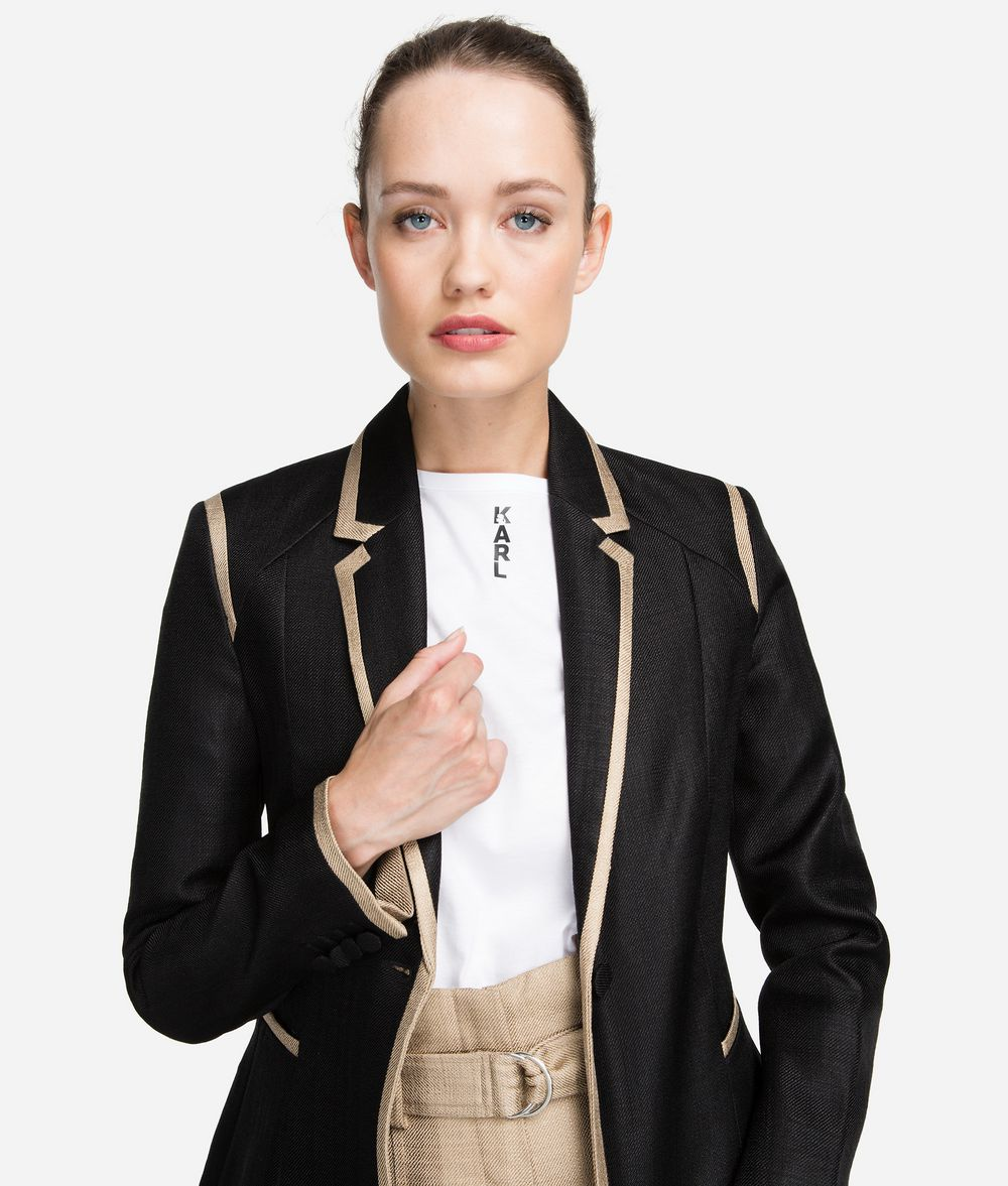 KARL LAGERFELD Tailored Gold-Trim Blazer Blazer Woman f