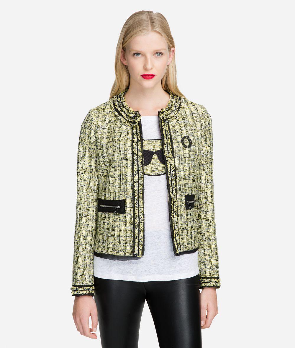 KARL LAGERFELD Bouclé Jacket with Pin Jacket Woman f