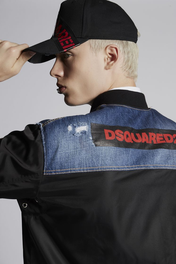 DSQUARED2 Nylon Bomber With Raw Edge Denim Yoke Jacket Man