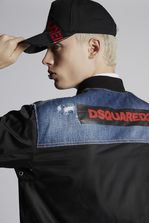 DSQUARED2 Nylon Bomber With Raw Edge Denim Yoke Куртка Для Мужчин