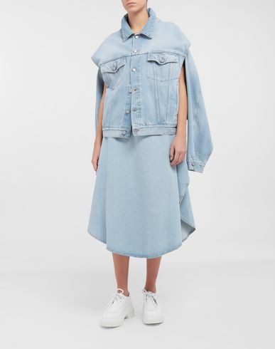 COATS and JACKETS Open-sleeve denim cape jacket Blue