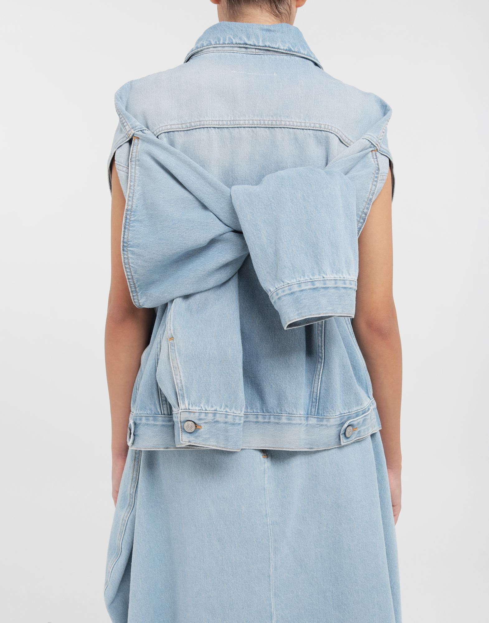MM6 MAISON MARGIELA Open-sleeve denim cape jacket Jacket Woman b