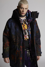 DSQUARED2 Tie And Dye Printed Cotton Mountain Parka Parka Man