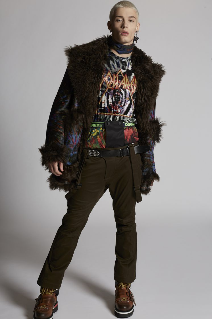 DSQUARED2 Printed Leather Tie And Dye Effect Fur Lined Parka レザーアウター メンズ