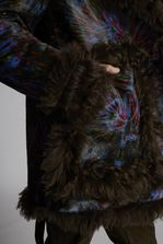 DSQUARED2 Printed Leather Tie And Dye Effect Fur Lined Parka Leather outerwear Man