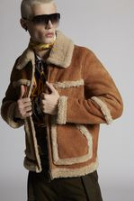 DSQUARED2 Shearling Oversized Bomber Leather outerwear Man
