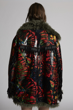 DSQUARED2 Leather And Fur Tie And Dye Parka Leather outerwear Woman