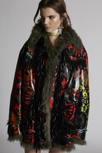 DSQUARED2 Leather And Fur Tie And Dye Parka Chaquetas de piel Mujer