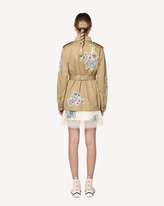 REDValentino Cotton gabardine caban with Parrot Ramage patches
