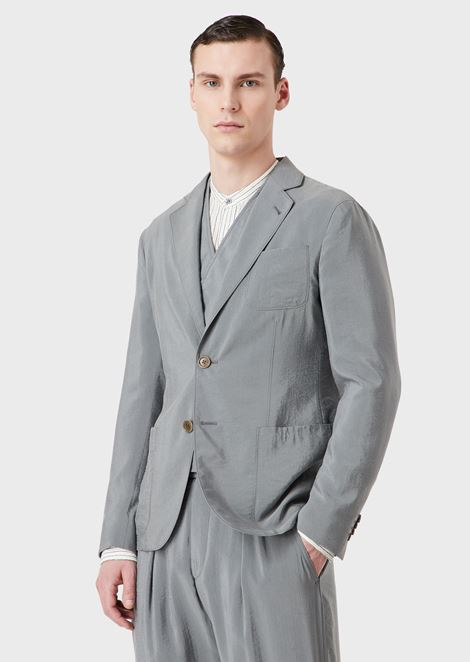 Silk blend regular-fit Upton jacket