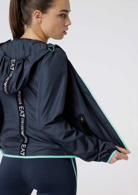 Water repellent and windproof tech fabric blouson with hood