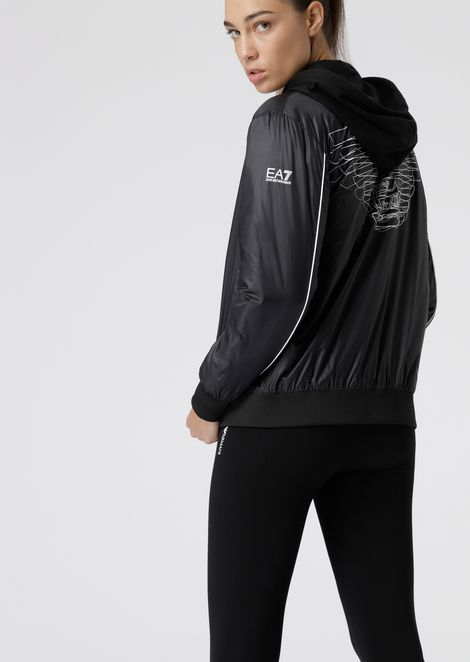 Padded bomber jacket with maxi eagle on the back