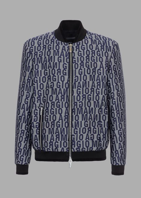 Chevron jacquard fabric bomber jacket with lettering embroidery