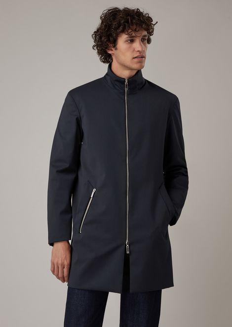 Reversible water-repellent wool gabardine trench coat