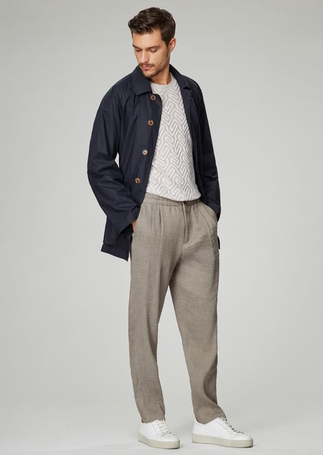Garment-dyed safari jacket in water-repellent coated poplin