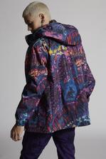 DSQUARED2 Tie And Dye Printed Nylon Hooded Raincoat Raincoat Man