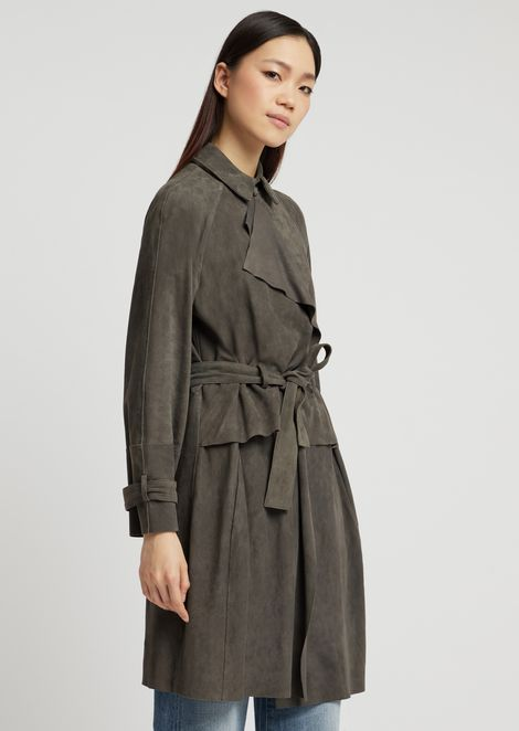 Duster coat in suede with belt and basque at the waist