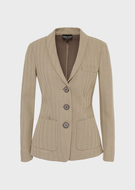 Jacquard jersey single-breasted jacket with chevron design
