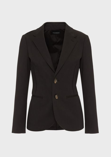 Single-breasted jacket in double stretch poplin with ribbing