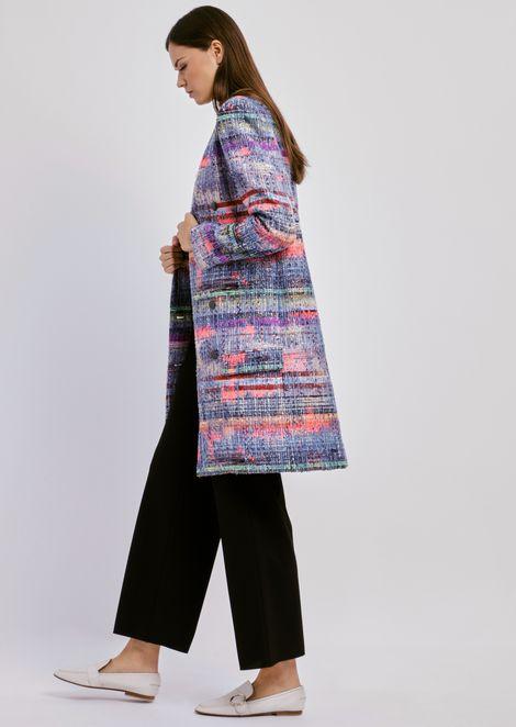 Abrigo cruzado en tweed multicolor
