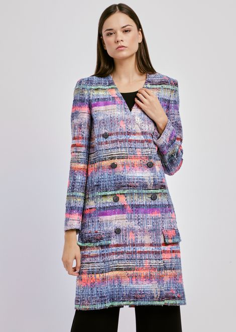 Double-breasted coat in multi-coloured tweed