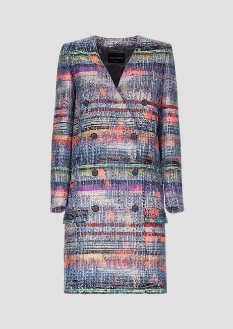 Double-breasted coat in multi-colored tweed