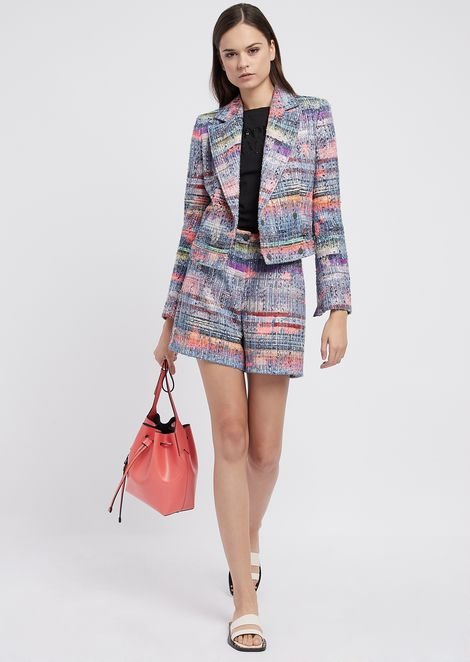 Double-breasted jacket in multi-colored tweed