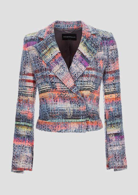 Double-breasted jacket in multi-coloured tweed