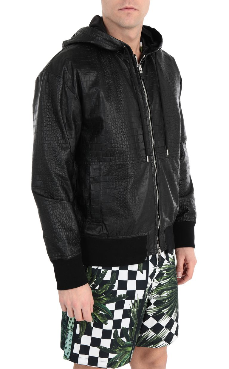 JUST CAVALLI Crocodile-skin-effect jacket Leather Jacket Man f