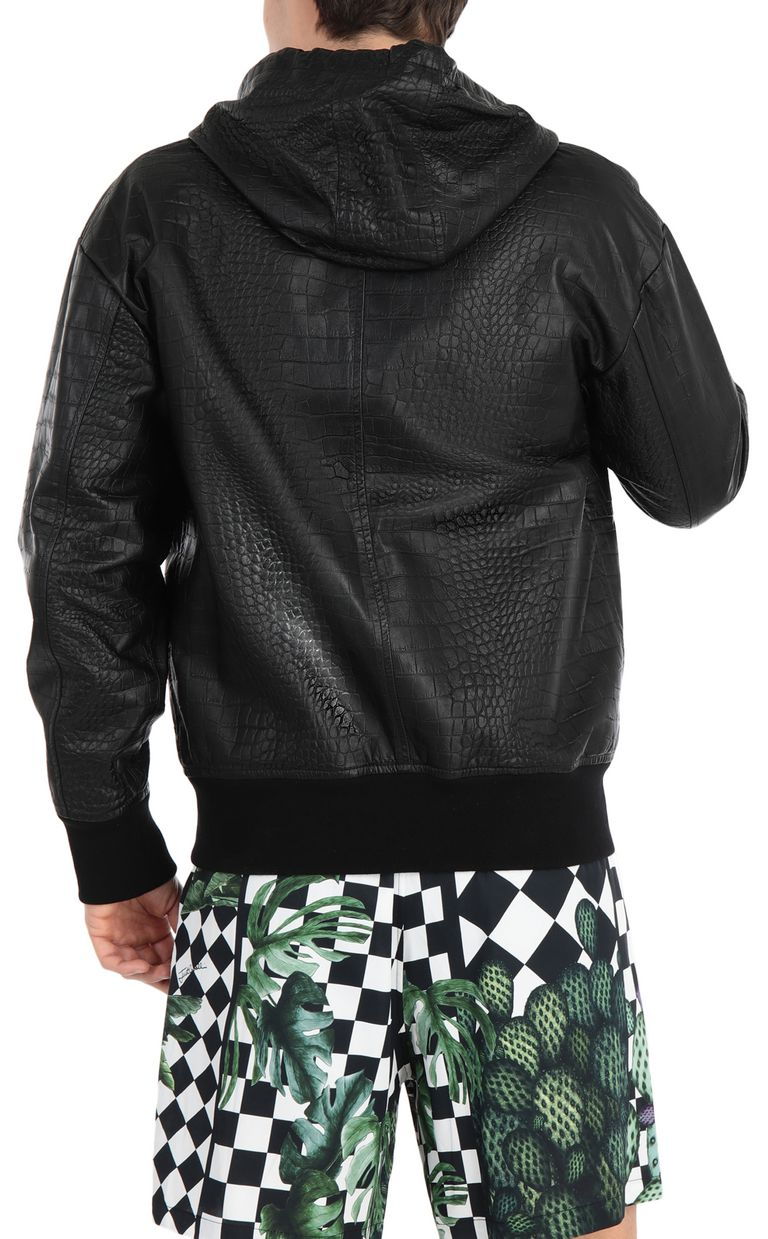 JUST CAVALLI Crocodile-skin-effect jacket Leather Jacket Man r
