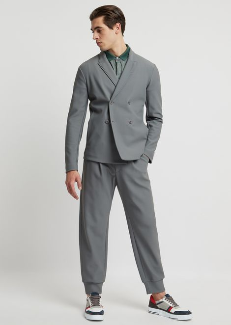 Double-breasted jacket in bonded honeycomb fabric