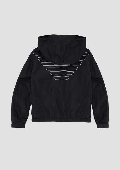 Tech fabric windbreaker with all-over logo