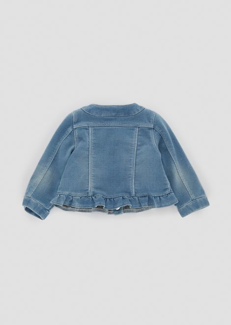 Light denim jacket with ruches on the hem