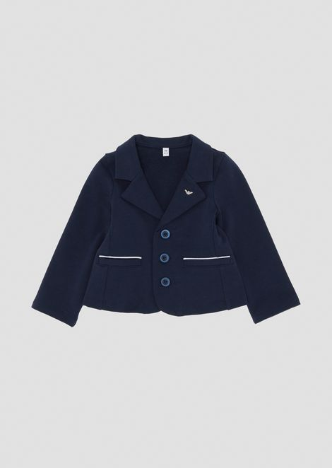 Stretch cotton single-breasted blazer with logo on the lapels