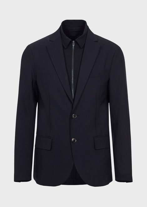 Single-breasted blazer in technical wool
