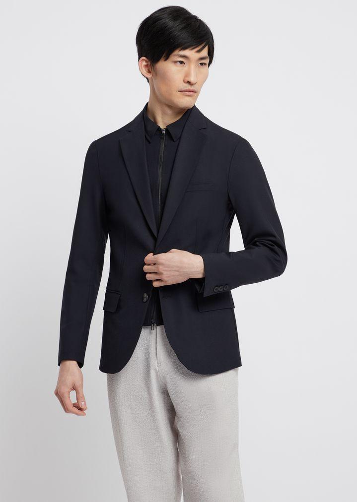 7c85b70d7c Single-breasted blazer in technical wool