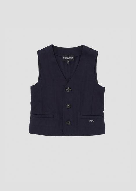 Stretch cotton gabardine buttoned waistcoat