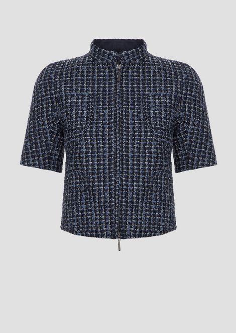 Short-sleeved jacket in multicolor basketweave with zip