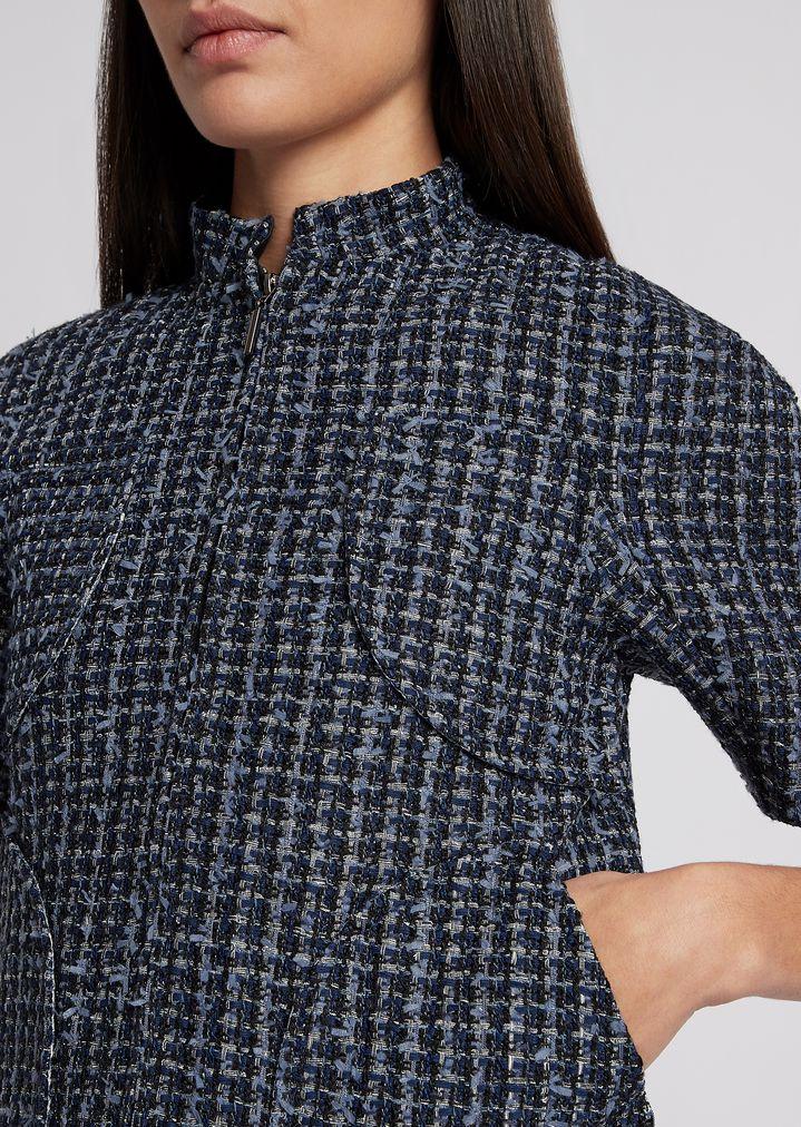 2983686191 Short-sleeved jacket in multicolor basketweave with zip