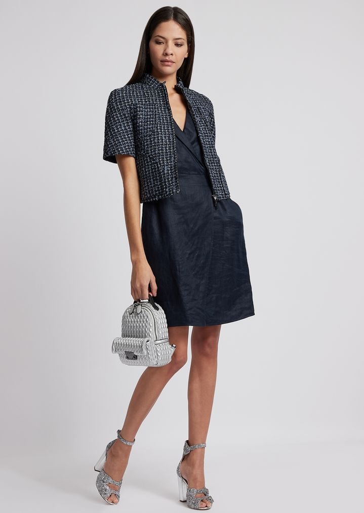 1154354bce Short-sleeved jacket in multicolour basketweave with zip
