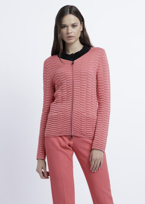 Embossed knit cardigan with zip and pockets