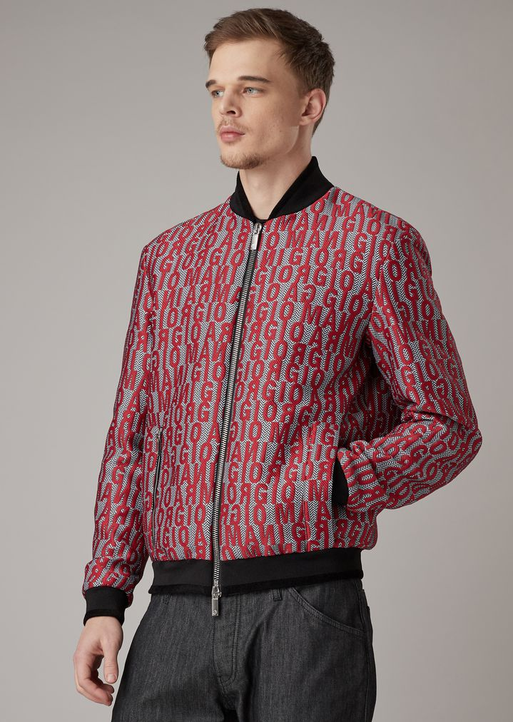 ab04a25c1 Chevron jacquard fabric bomber jacket with lettering embroidery