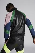 DSQUARED2 Leather Over-Sized Track Bomber Кожаная куртка Для Мужчин